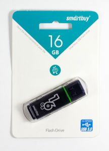 Накопитель USB 2.0 Flash Drive 16Gb Smartbuy Glossy series Black (SB16GBGS-K)